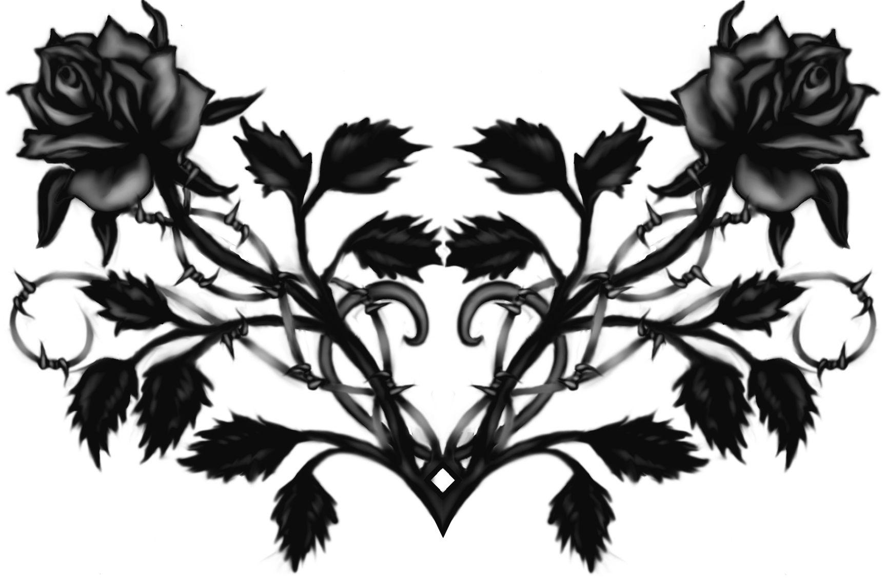 Gothic Black Rose Tattoo